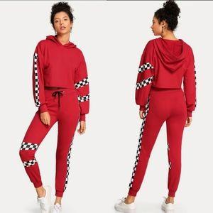 Shein Red Speedway Track Jogging Suit